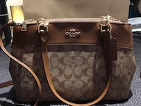 monogrammed brown Coach leather 2-way bag Markham, L3P