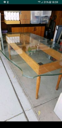 brown wooden framed glass top table Manteca, 95337