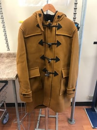 brown and black button-up coat Garden City, 11530