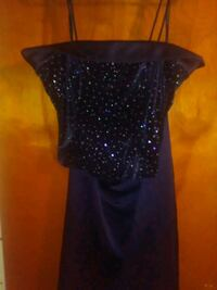 black and blue sequin scoop neck sleeveless dress Chickasaw, 36611