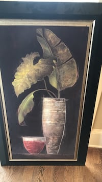 Green leaves in brown vase still life painting Overland Park, 66221