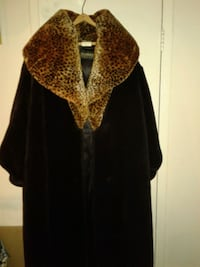Ladies plus size full length fur coat.
