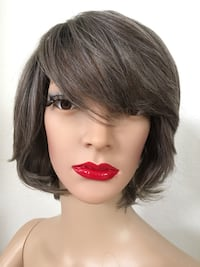 Gray wig mixed black wig synthetic very high quality silk smooth texture short summer wigs  Las Vegas, 89144