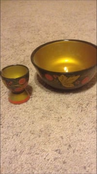 Russian egg holder and bowl