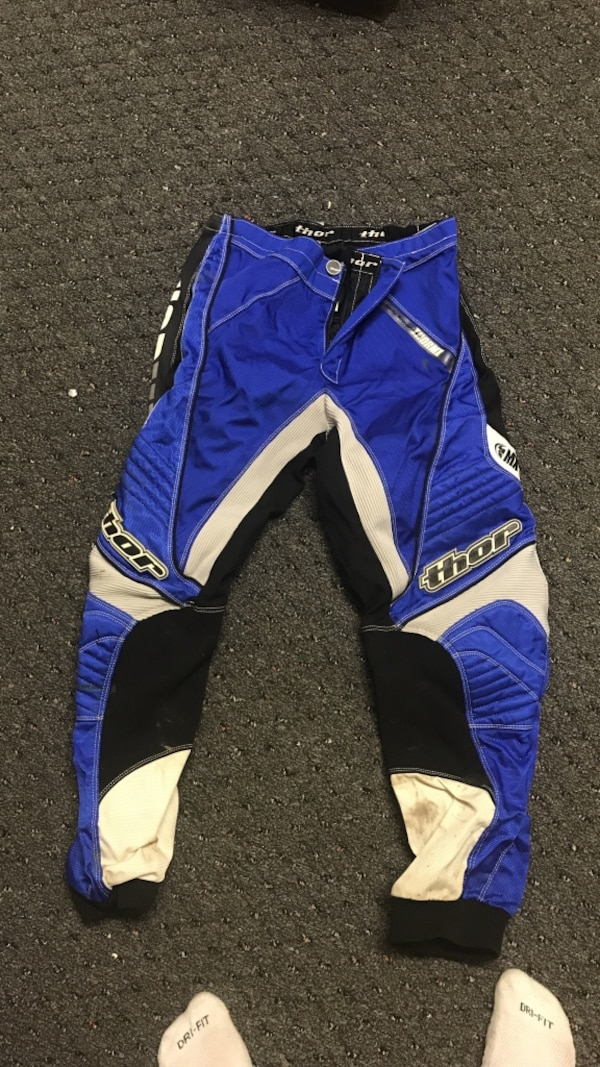 blue and white Thor motocross pants