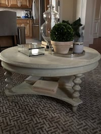 Round off white/ cream distressed wooden coffee table