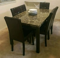Brand New 7 Piece Faux Marble Dining Set  Silver Spring