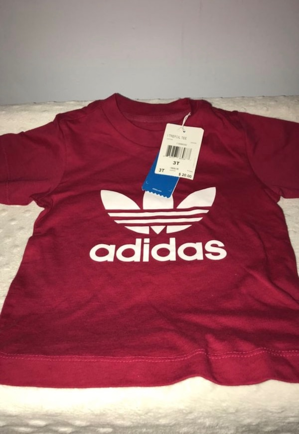 Red and white adidas crew-neck t-shirt