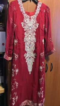 women's red and white floral traditional dress