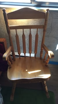brown wooden rocking chair with white pad Surrey, V3X 1P8