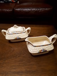 VINTAGE ENGLAND CROWN DUCAL SUGAR BOWL AND CREAMER GAINSBOROUGH MADE IN ENG RD NO 74965