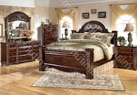 ashley king sized bed frame with dresser and mattress + box spring