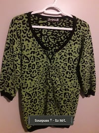 women's green Sourpuss leopard 3/4 sleeve top Spruce Grove, T7X 1J5