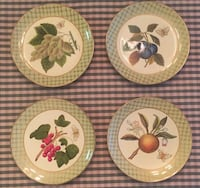 """Set of 4 raymond waites fruit and butterfly handpainted green and gold  each is 10 3/8"""" diameter, porch pick up"""