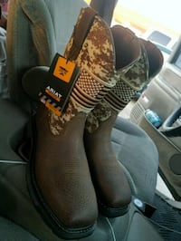 pair of brown leather work boots Dallas