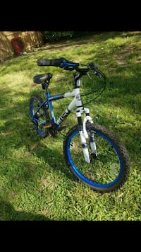 blue and white hardtail bike