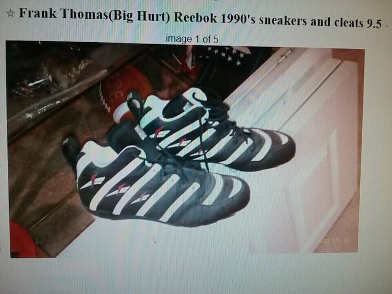 Frank Thomas Big Hurt original 1990's reebok sneaks and cleats wow 98118b2c-141c-4939-be59-b52c8b041e85