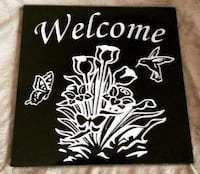 white and black Welcome print wall art decor Central Elgin, N0L
