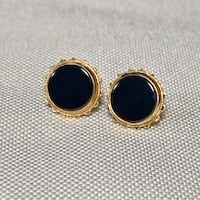 Vintage 14k Gold Black Onyx Earrings Ashburn