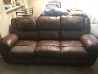 brown leather 3-seat sofa Usaf Academy, 80840