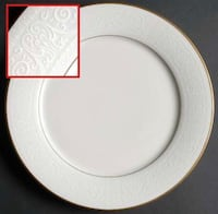 Noritake Tulane China Ivory with white scroll and gold trim (15) 6 complete piece place settings w serving pieces + extras:  (15) Dinner Plates + 4 extra (15) Salad Plates + 3 extra (15) Bread/Dessert Plates  + 3 extra (15) Fruit/Dessert Bowls + 3 extra ( Palmyra, 17078