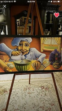Brown wooden framed painting of man