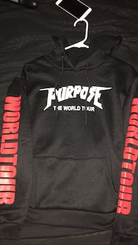 Black and red purpose the world tour printed pullover hoodie