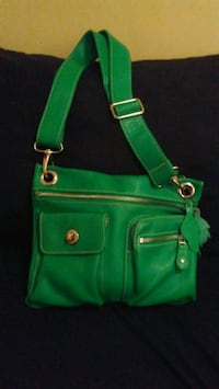 Green leather Roots Bag North Vancouver