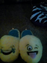 pair of yellow emoji house slippers Holmes, 19043