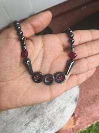 hematite and ruby grounding necklace