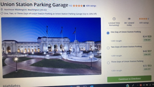One Full Day of Parking at Union Station