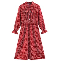 BOOPDO DESIGN RETRO VINTAGE HEART PRINT BOW NECKLINE DRESS IN RED