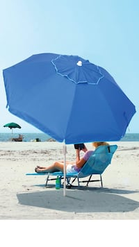 RIO BEACH 6 1/2' Integrated Sand Anchor Umbrella, Blue