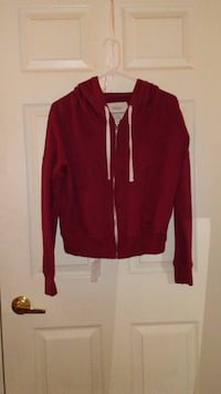 Red and white zip-up hoodie 1306 km