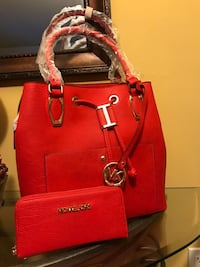 red Michael Kors leather tote bag and wristlet set