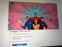 Four Wiggles tickets for October 29th at 3:30 pm.  45 per ticket and we have four tickets.