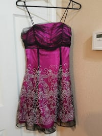 Size 7/8 women's pink and black mini dress