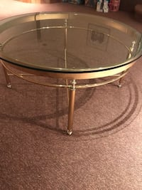 Brass and glass tables Vancouver