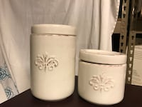 two white ceramic jars with lids Neptune, 07753