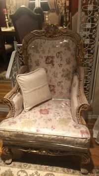 brown and white floral fabric sofa chair Copiague, 11726