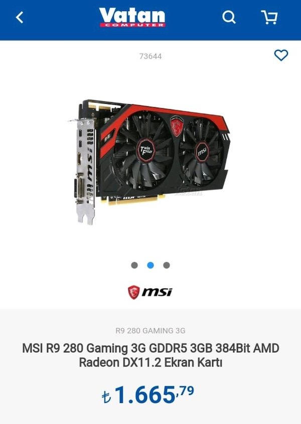 Msi amd R9 280 3GB 384bit gaming g series