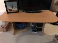 brown wooden TV stand with flat screen television Airdrie
