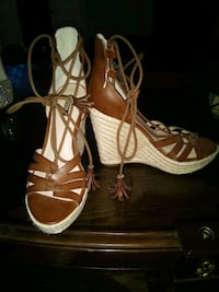 pair of brown leather open toe ankle strap heels Yakima, 98901