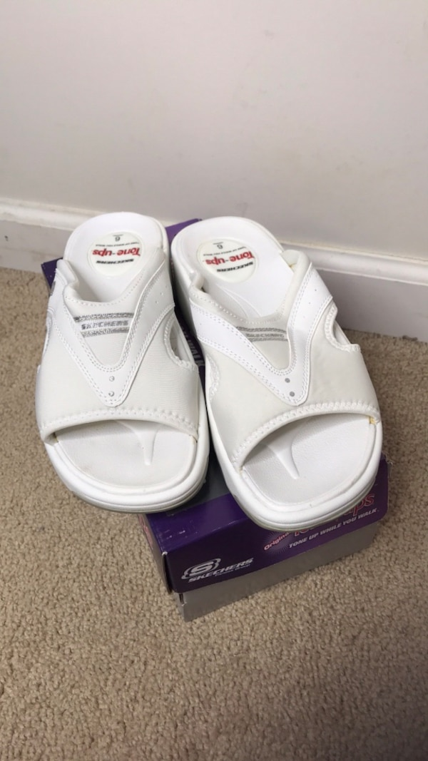 first rate quite nice sold worldwide Tone Ups Electric Slide Skechers White Sandals