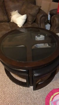 Brown and glass coffee table with stools Kitchener, N2G 3J8