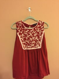 red and white floral scoop-neck sleeveless top Katy, 77449