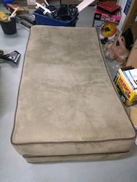 Plush Light Brown Ottoman with Brown Piping