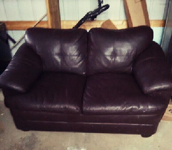 Leather Couch W Pull Out Bed And Love Seat