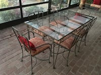 Full Patio Set Table and Chairs and Couch - Glass and Metal w Cushions Los Angeles, 90272