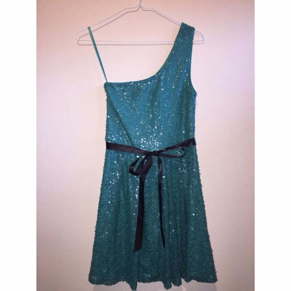 Teal Sequin Dress with Black Ribbon